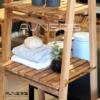 סולם מגבות לאמבטיה עם 3 מדפים מתקפל עץ טיק מלא