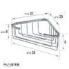 מדף רשת למקלחת פינתית גבוהה ניקל מבריק - SL275