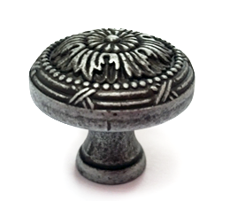 ידית כפתור למגירות דגם 3127 עגול כסף עתיק מושחר