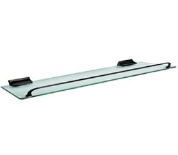 מדף זכוכית 35 | 50 | 60 ס״מ שחור מט זכוכית שקופה