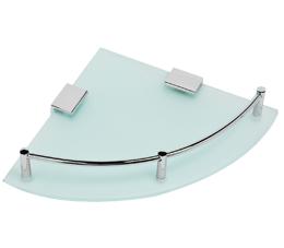 מדף זכוכית פינתי בודד דגם לוטוס זכוכית חלבית