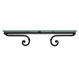 מדף זכוכית 50 ס״מ לאמבטיה נפחות שבלול שחור חולי