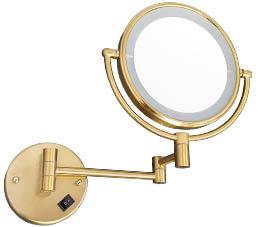 מראה מגדילה פי 7 עם תאורת לד בטרייה זהב מט M25-MG