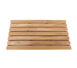 משטח עץ מלבני 61 ס״מ עם 7 שלבים למקלחת עץ טיק מלא