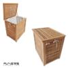 סל כביסה גדול 65x48x65 ס״מ לאמבטיה עץ טיק מלא