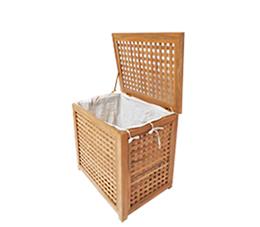 סל כביסה קטן 55x35x55 ס״מ לאמבטיה עץ טיק מלא