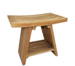 ספסל למקלחת טי 45 ס״מ עם מדף עץ טיק מלא