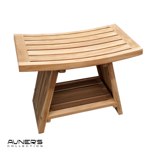 ספסל למקלחת טי 60 ס״מ עם מדף עץ טיק מלא