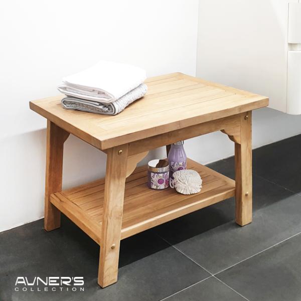 ספסל עץ למקלחת מלבני 60 ס״מ עם מדף עץ טיק מלא