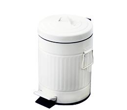 פח אשפה למטבח 20 ליטר רטרו עגול לבן סגירה שקטה
