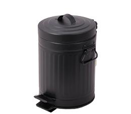פח אשפה למטבח 20 ליטר רטרו עגול שחור סגירה שקטה