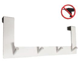 קולב על דלת 4|2 ס״מ רביעיה ללא קידוח לבן