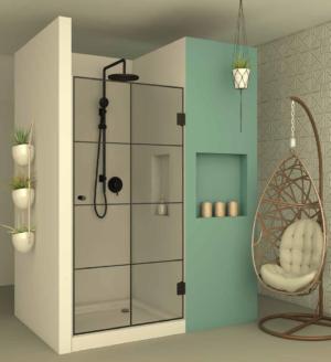 מקלחון חזית BLACK102 - מקלחון חזיתי בעל דלת הנפתחת פנימה והחוצה