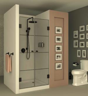 מקלחון חזית BLACK103 - מקלחון חזיתי בעל שתי דלתות הנפתחות פנימה והחוצה