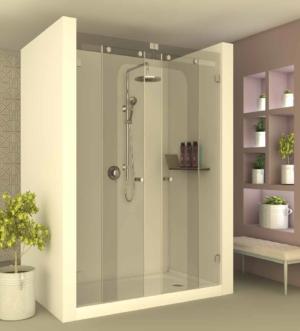 מקלחון הזזה CNC201 - מקלחון בעל שתי דפנות קבועות ושתי דלתות הזזה