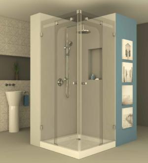מקלחון הזזה פינתי CNC203 - מקלחון פינתי בעל שתי דפנות קבועות ושתי דלתות הזזה