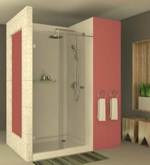 מקלחון הזזה CNC204 - מקלחון המורכב על מוט נירוסטה בעל דופן קבועה ודלת הזזה