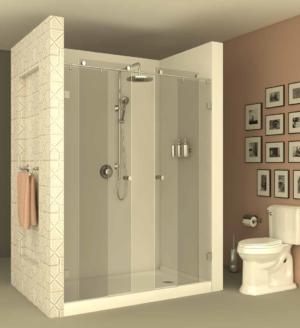 מקלחון הזזה CNC206 - מקלחון המורכב על מוט נירוסטה בעל שתי דפנות קבועות ושתי דלתות הזזה