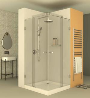 מקלחון הזזה פינתי CNC207 - מקלחון פינתי המורכב על מוט נירוסטה בעל שתי דפנות קבועות ושתי דלתות הזזה