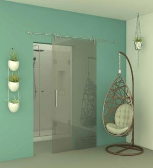 דלת כניסה לחדר אמבטיה DOORS10 - דלת הזזה המורכבת על מוט נירוסטה