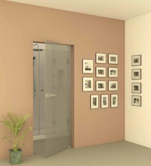 דלת כניסה לחדר אמבטיה DOORS11 - דלת הזזה המורכבת על מוט נירוסטה