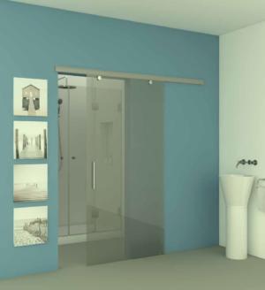דלת כניסה לחדר אמבטיה DOORS15 - דלת הזזה עם שני אביזרי תליה בתוך המסילה