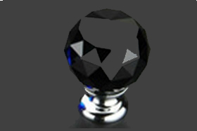 """כפתור קריסטל שחור 40 מ""""מ 304BL"""