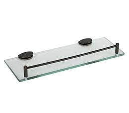 """מדף זכוכית 35 ס""""מ P-21-BLK זכוכית שקופה שחור מט"""